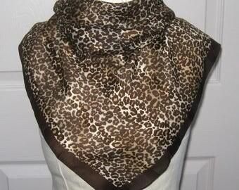 silk scarf . silk bandana . leopard silk bandana . animal print . animal print silk scarf