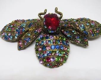 Bee brooch, large bee brooch, crystal bee brooch