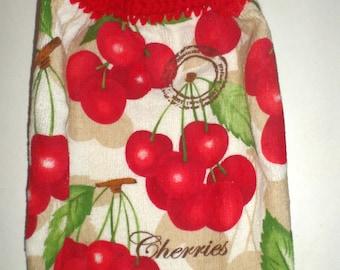 Hanging Cherries Towel, Crochet Top Towel,  Bright Red Cherries, Hanging Kitchen Towel, Hanging Dish Towel, Hanging Tea Towel