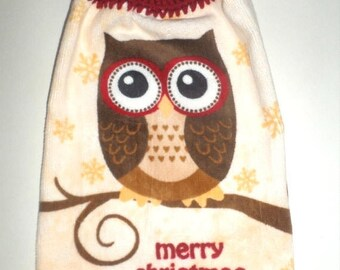 Blow Out Sale Merry Christmas Owl Towel - Hanging Towel - Crochet Top Towel - Large Owl - Kitchen Dish Towel - Hanging Hand Towel - Thick Pl