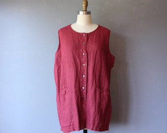 vintage linen tunic / burgundy shift top / button down sleeveless shirt