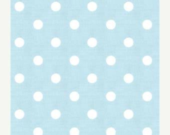 """ON SALE SAMPLE Sale Runner 20""""-40""""  Polka Dot White on Mist Blue Wedding table runner clearance rpst"""