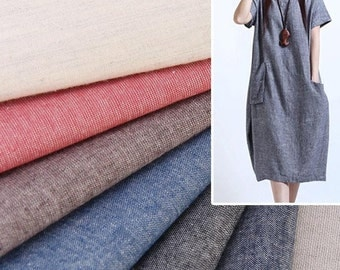 4448 - Solid Color Washed Cotton Linen Blend Fabric - 55 Inch (Width) x 1/2 Yard (Length)