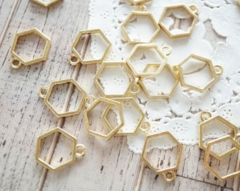5 pcs Open Back Bezel Charms / Simple hexagon (13mm) Gold AZ542