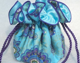 Aqua with purple Jewelry Pouch, Jewelry Travel Organizer Pouch: perfect for bridesmaids