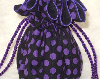 Anti Tarnish Purple Polka Dot Jewelry Bag Pouch