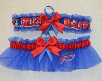 Wedding Garter Set Handmade with Buffalo Bills fabric ( Royal Blue BB )