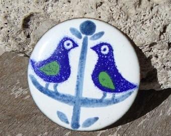 Vintage Bird Brooch Modernist Copper Enameled Birds Pin