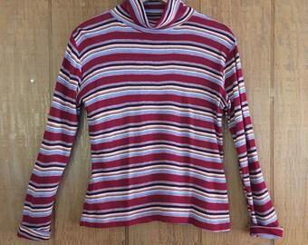 Vintage 70s maroon stripe knit turtle neck long sleeve blouse M