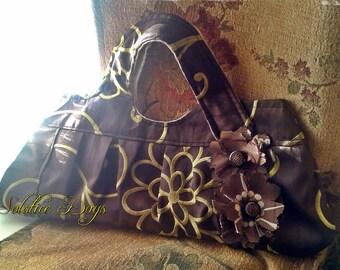 SALE - Handbag, Brown and Gold Floral Brocade, Evening Bag, Wedding Handbag, Prom Bag