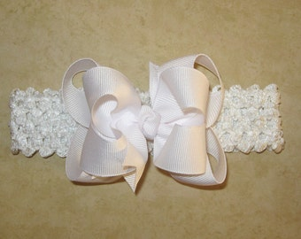 Soft Stretchy Headband with Solid White 3.5 inch Grosgrain Double Hair Bow for Newborn, Baby Girl -READY TO SHIP