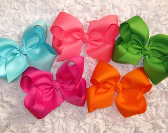 Custom Package of 5 X-Large Boutique Grosgrain Hair Bows - You Choose from OVER 100 AVAILABLE COLORS
