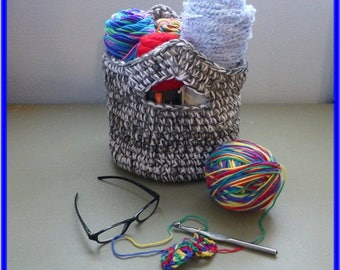 Clearance Sale Catch All Basket Bag with Handles Shades of Gray and White