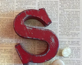 Vintage Inspired Metal Letter S ~ Distressed Letter S ~ Fire Engine Red Letter ~ Wall Mount Letter ~ S is for Spectacular