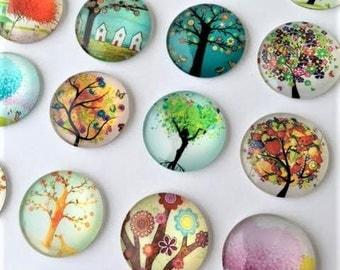 20 Whimsical Tree of Life 25mm Glass Domes Cabochons Pendants Jewelry Fairy Heart MIX Ready to Use Nature Digital Images Printed  Colorful