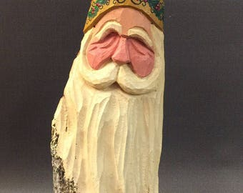 HAND CARVED original Santa bust with detailed holly trim from 100 year old Cottonwood Bark.