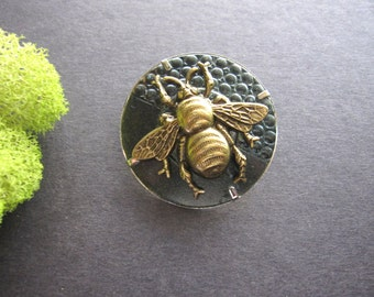 OOAK Bee Brooch, Bee Pin, Woodland Insect, Bug Pin, Sweater Pin, Bumble Bee, Lapel Pin, Emerald Green, Stocking Stuffer, One of a Kind