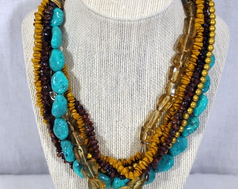 """Vintage Necklace - 7 Strand Gold Clear Brown - Faux TurquoiseBeads Blue 16""""- 19""""  Adjustable"""