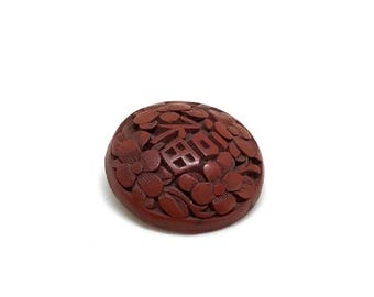 Antique Cinnabar Button - Asian Symbols And Flowers