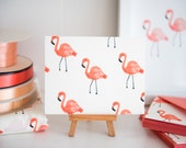 Flamingo Fabric Note Cards - Rifle Paper Co - Les Fleurs - Cotton + Steel - Ivory, COTTON LAWN // Notes // Stationery // Thank You Cards