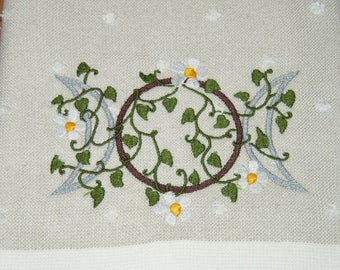 Embroidered * Celtic Earth Triple Moon * Kitchen/Dish Towel * Goddess * Wiccan * Wicca * Witch * Pagan