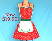 Christmas apron, retro apron,  Red green Polka Dot full apron holiday hostess, apron, elf costume, sale, gifts under 20 dollars