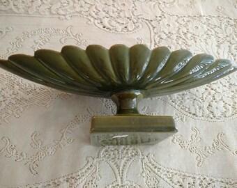 Vintage FREEMAN-McFARLIN Art Pottery Pedestal Dish Signed Anthony