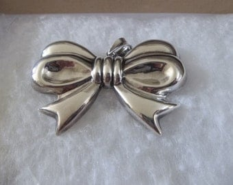 Vintage Sterling Silver Bow Pin/Brooch and Pendant