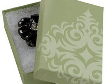 50 Pack of 3.25X2.25X1 Inch Size High Quality Sage Damask Cotton Filled Jewelry Presentation Boxes