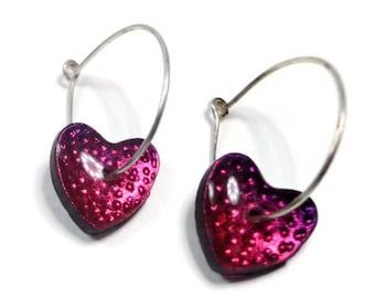 Heart Hoop Earrings- Polymer Clay jewelry- Raspberry Heart Earrings- Ready to Ship- Gifts for Her Birthday Graduation