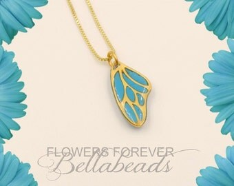 Remembrance Jewelry, Memorial Necklace, Flower Petal Pendant, Cremation Pendant, 24K Gold Plated or Sterling Silver Butterfly Wing Pendant