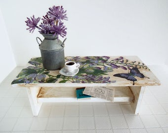 Miniature Table Real WOOD with Magazine Shelf and Decoupaged Top - Shabby Cottage Chic Coffee Table for 1/6 Scale Dolls & Action Figures
