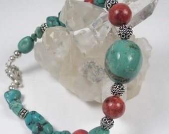 ON SALE Genuine Turquoise,  Coral and Sterling Silver Bali Beads Chunky Statement Bracelet