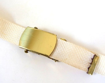 Vintage 1980's Military Style Belt, Off White Nylon Webbing, Up to 32 Inch Waist
