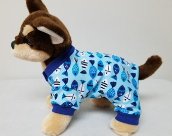 Dog Clothes Blue Fishy Pajamas, Chihuahua, Yorkie