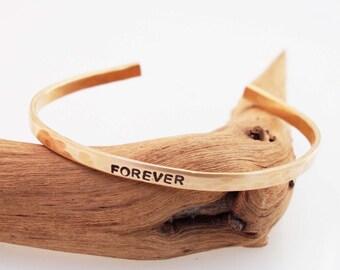 Bronze Anniversary Bracelet, Hammered Bronze Cuff, Forever Bracelet, Personalized Cuff, 8 Year Anniversary Gift