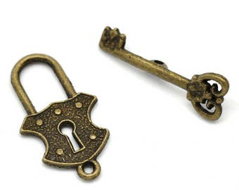 Lock and Key Toggle Clasp Antique Bronze Toggle Set 24mm ring 23mm bar