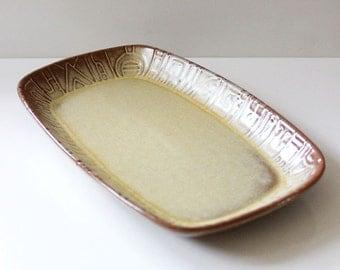 Frankoma Aztec Desert Gold 9 inch serving platter, mid century modern American design.