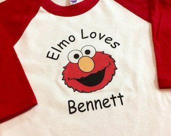 Elmo Shirt - Elmo Loves Me Raglan Kid Shirt