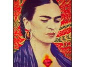 Frida Kahlo Oil Painting Poster Print Instant Digital Download Poster Sacred Heart Milagro All Sizes Mixed Media Orange Red Surrealist