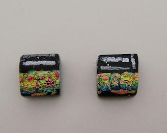 Tiny dichroic glass stud earrings.