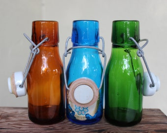 VINTAGE set of glass bottles with ceramic stoppers, blue, green, brown