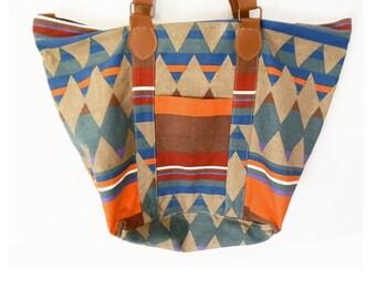 90's canvas southwest tote // overnight bag // shopping bag // vintage purse