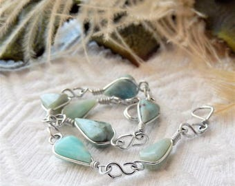 Sale.....One of a Kind Sterling Silver Plated Wire and Amazonite Bracelet