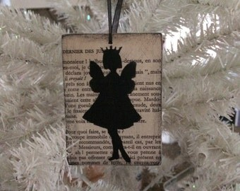 Fairy Queen Silhouette Ornament - Girl with Fairy wings and Crown on Vintage French Book Paper -  Christmas Decoration Shabby Chic Faerie