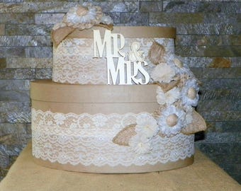 """Wedding Card Box, Burlap Flowers, Lace and Ribbons Cover this Tierd Cake Oval Box Set 15"""" High x 15"""" Long, Use for the Shower then Wedding"""