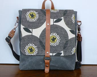Crossbody Bag, Floral Backpack, Convertible Purse, Travel Bag, Waxed Canvas Messenger, Canvas and Leather, Grey Waxed Canvas, Skinny Laminx