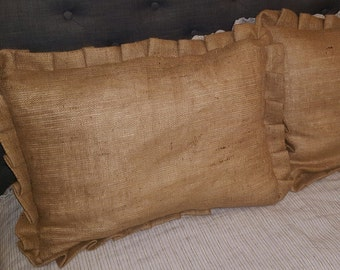 TWO BURLAP Standard Shams - Pleated or Ruffled