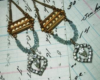 Vintage Assemblage Aquamarine &  Rhinestone Earrings