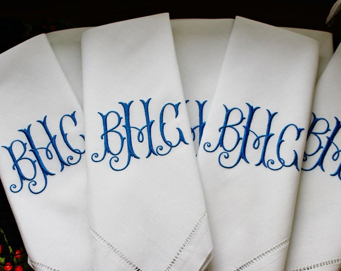 Set of Eight or Twelve Custom Monogrammed Dinner  Napkins, Wedding Napkins, Bridal Shower, Bridal Luncheon
